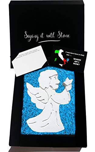 Ange gardien faite à la main en Italie - Coffret cadeau et carte de message inclus - Idée cadeau femme homme anniversaire baptême naissance