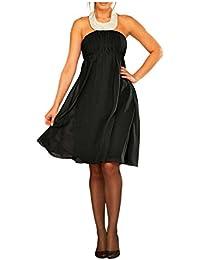 APART Damen-Kleid Chiffon-Abend-Kleid mit Perlen schwarz in Größe 36 Chiffon Schwarz