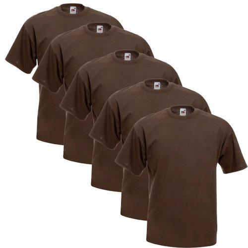 Fruit Of The Loom Original T 5-Pack Logo Men's T-Shirt Schokobraun