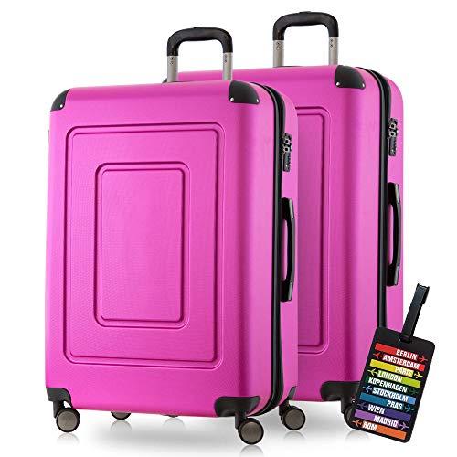 Happy Trolley - 2er Koffer-Set Hartschalen-Koffer Reisekoffer Lugano sehr leicht, TSA, 76cm 113L (2XL), Pink
