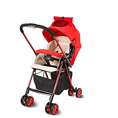 Reversible Folding Pushchair, Pushchair, Baby Stroller, Compact Travel Pushchair, Lightweight Buggy Stroller with Adjustable Backrest, Suitable From Birth To 15 Kg Baby Cart Baby Umbrella ,Red
