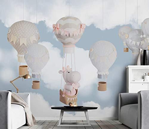 rte klassische Tapete Nordic minimalistischen handgezeichneten Tier Ballon Kinderzimmer Hintergrund Tapeten Wohnkultur T1-350cmx245cm ()