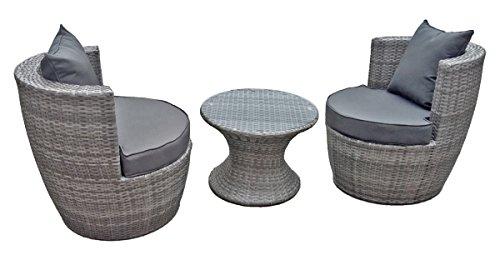 Jardinion Club Möbel Set, 3 teilig, Tisch, 2 Sessel mit Kissen grau, Geflecht, Bar, Garten - Club-sessel Set
