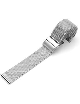 JSDDE Edelstahl Mesh Uhrenarmband Metallarmband Uhrenarmbänder Uhrenband Watch Band mit Sicherheitsverschluss...