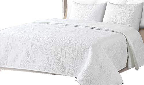 Colcha Boutí Liso Reversible+Cuadrantes BEGUR (Blanco, 250x260+2 cuadrantes (para cama de 150/160/180))