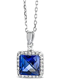 Miore Ladies White Gold Diamond and Sapphire Pendant with Anchor Chain of 45 cm