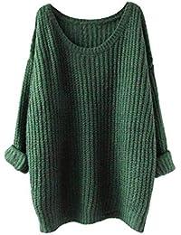 Pullover Largo Mujer Elegantes Moda Pullover Punto Otoño Invierno Cuello  Redondo Manga Larga Color Sólido Anchos 1ef0f0b97539