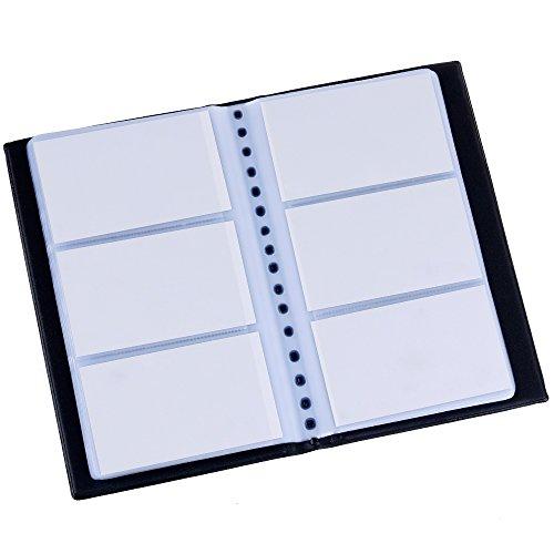 Zacro Visitenkartenmappe für 240 Karten Ideal für Büro und Praxis Visitenkartenbuch Kundenkarten Kreditkarten Schwarz