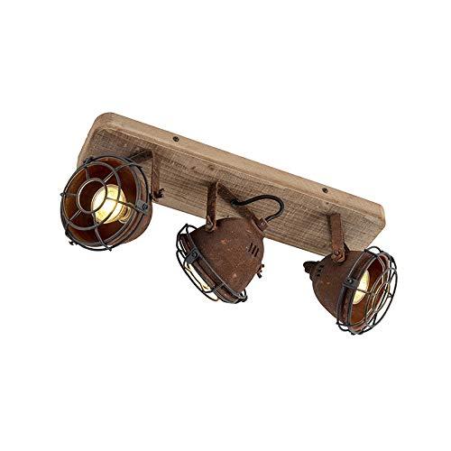 QAZQA Industrial Plafón robusto óxido placa de madera 3 focos - GINA/Metálica...