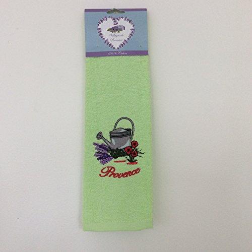 Torchon en éponge 100% Coton uni rectangle 50X70 cm - Broderie Arrosoir et fleurs - Vert Anis