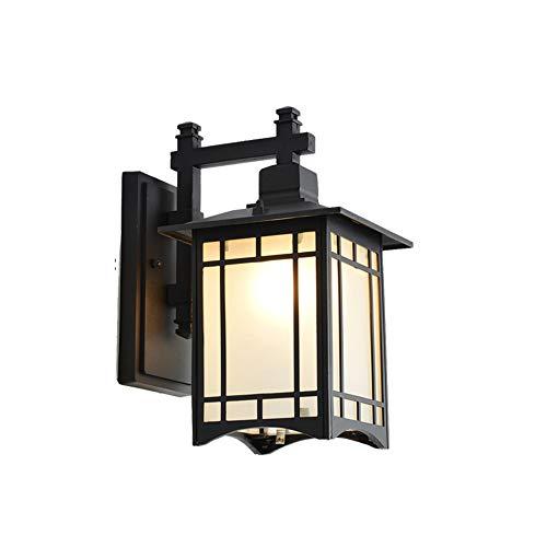 Außenlampe Vintage Outdoor Wasserdichte Wandlampe Wandleuchte Aussen-Lampe Laterne Wasserdicht IP65 Schwarz Aluminium Außenleuchte Glas Lampenschirm E27 1-Flammig Beleuchtung Außenwandleuchten (Antike Romantik)