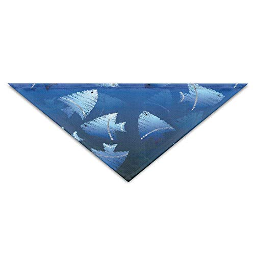 Dog Verkauf Cute Kostüm - nxnx Washable Ocean Blue Fish Dog Unique and Never Out of Date Bandanas Scarves Triangle Bibs Scarfs Cute Basic Neckerchief Cat Collars Pet Costume Accessory Kerchief for Large&Medium&Small Puppy