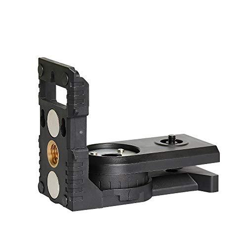 """Huepar PV3 L-Form Laser Level Adapter für Kreuzlinienlaser, Magnetisch Schwenkbarem Sockel, 180 Grad Einstellbare Halterung mit 1/4""""-20 Außengewinde, 1/4""""-20 und 5/8""""-11 Innengewinde Halterungen"""