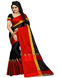 High Glitz Fashion Women's Black & Red Color Poly Cotton Sari With Blouse Piece