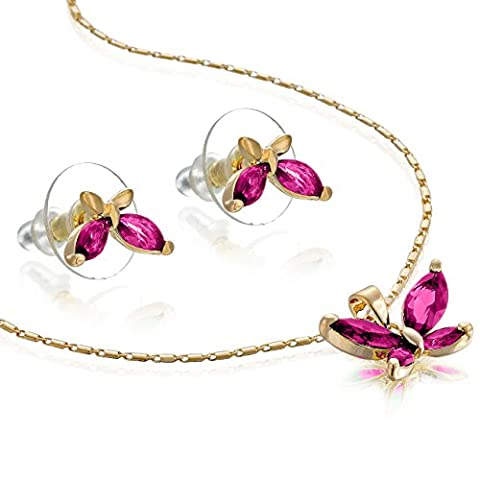 14K Gold or Silver Rhodium Plated Butterfly Necklace & Earrings Set - Fuschia/Rose Gold, Janeo