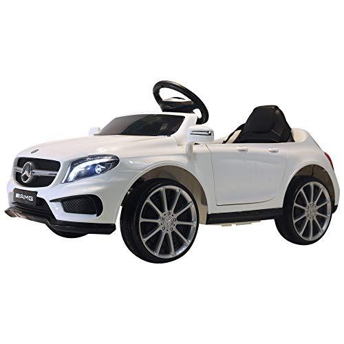 Homcom Voiture véhicule électrique Enfants 6 V 15 W V. Max. 7 Km/h télécommande Effets sonores + Lumineux Blanc Mercedes GLA AMG