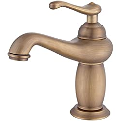 Estilo vintage control único grifo de baño rústico, acabado de cobre antiguo baño grifo del fregadero con porcelana, buena calidad (bronce) ( Size : No ceramic18*17.5cm )