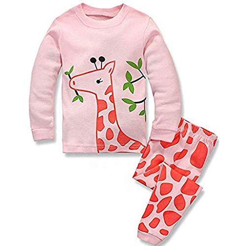 Amphia - Kinder Pyjamas-Set - Giraffen-Print-Top + Hosen für Zuhause (2T-7T) - Kleinkind Baby Jungen Mädchen lang ÄrmelCartoon Tops + Hosen Pyjamas Nachtwäsche ()