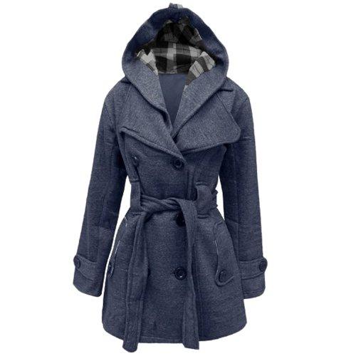 Belted Denim Mantel (Style Divaa Damen Mantel Blau Denim 40)
