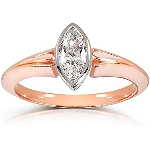 Anello solitario con diamante taglio Marquise, 8 carati in oro giallo 10 kt, con certificato) - Vs2 Marquise Diamante Solitario