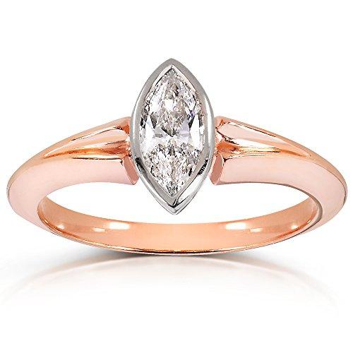 Anello solitario con diamante taglio Marquise, 8 carati in oro giallo 10 kt, con certificato), Oro rosa, 9,5, cod. 14430X_5.0 - Vs2 Marquise Diamante Solitario