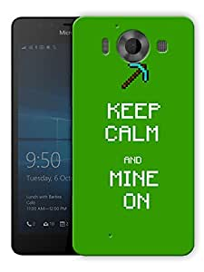"Humor Gang Keep Calm And Mine On - Minecraft Printed Designer Mobile Back Cover For ""Nokia Lumia 950"" (3D, Matte Finish, Premium Quality, Protective Snap On Slim Hard Phone Case, Multi Color)"