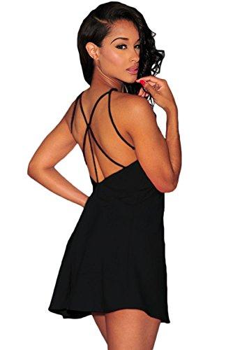 La Vogue Femme Robe Courte Épaule Nue Stretch Sans Manche Uni Dos Nu Noir