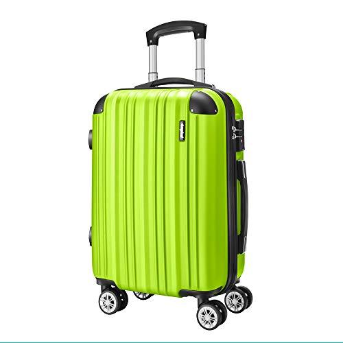 Amasava Hartschale 4 Rollen Handgepäck Trolley Koffer Bordgepäck Kabinentrolley Reisekoffer Gepäck Leichtgewicht ABS, Genehmigt für Ryanair, Easyjet, Lufthansa und Vieles Mehr 55cm/43L Grün