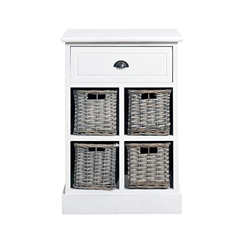 Rebecca Srl Cupboard Chest of drawers Furniture URBAN 4 Wicker Baskets 1 drawer White Country Bathroom Living room Hallway Laundry ( Cod. 0-1560)