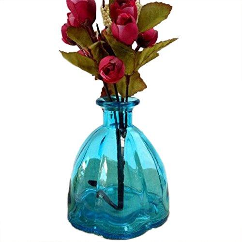Hacoly Kleiner Mund Kürbis Vase glas Väschen Hung Glasvase Ornamente Glasfläschchen Decorations Flaschen Einfach und modern Startseite Hochzeits Dekoflaschen Bottle - Blau -