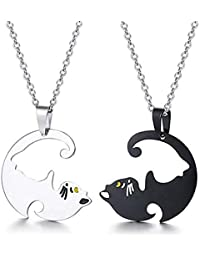 Romanticworks 2pcs Puzzle Cat Necklace Stainless Steel Beloved Statement Couple Pendant for Lover Friends