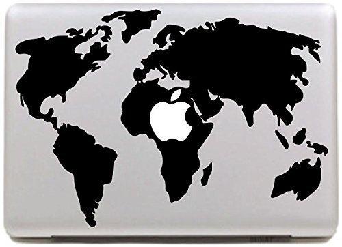 """Vati Hojas Mapa del Mundo extraíble Geniales Diseño Mejor Sticker Decal la piel del vinilo de Arte Negro Perfecto para Apple Macbook Pro Aire Mac de 13 """"pulgadas / Unibody 13 Inch Laptop"""