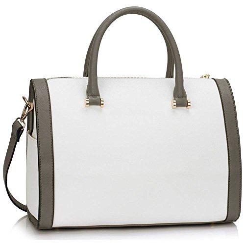 TrendStar Etoile Dames Epaule Sacs A Main New Designer Style Faux cuir Sac D'Encavateur Gris et blanc