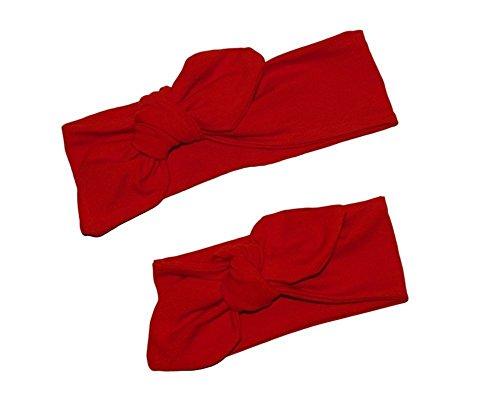 ❤ Rot Haarband Stirnband Geknotet für Newborn, Babys, Kleinkinder und Mamis, Passende Mutter und Tochter (Cute Mutter Und Kostüme Tochter)