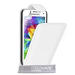 Yousave Accessories Coque Samsung Galaxy S5 Mini Etui Blanc PU Cuir Clapet Housse