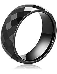 Daesar Joyería Anillo Cerámico Triángulo Rómbico Forma Compromiso Alianzas Boda Banda Negro