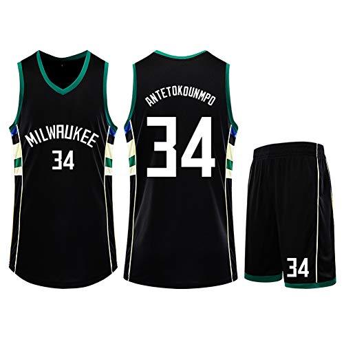 SLMY Milwaukee Bucks Giannis Antetokounmpo Basketballtrikot für Herren, 34 Mesh Polyester Tank Jersey Shirts (Jugend/Erwachsener) XS-XXXXXL Net Schnelltrocknend-Black-L -
