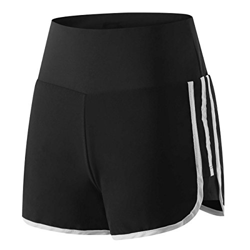 Wantdo Damen Leichtgewichts-Fitness Quick Dry 2-in-1-Jugend-Coole Sportshorts Kurze Sporttights Schwarz & Weiß Medium