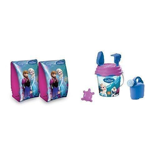 Strandeimerset Disney Frozen - die Eiskönigin in blau-lila 6-teilig & passende Schwimmflügel