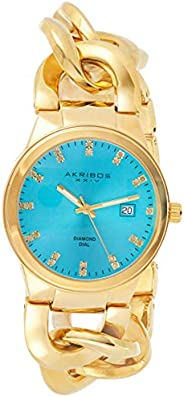 Akribos XXIV Women's Gold Swiss Quartz Diamond-Date Watch - Turquoise Sunburst Dial - Luminous Hands - Cha