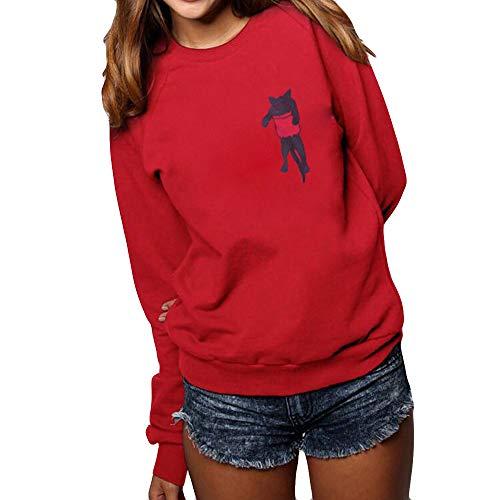 OSYARD Damen Sweatshirt Pullover Oberseiten, Frauen Langarm Pulli Tunika Hemd Oberteile Rundhals Lose Freizeit Kleider Strickpullover Katze Drucken Tops Bluse T-Shirt