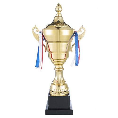 Goods & Gadgets Gold Pokal XXL Siegerpokal mit Deckel 36 cm - Sieger Trophäe Personalisierbar
