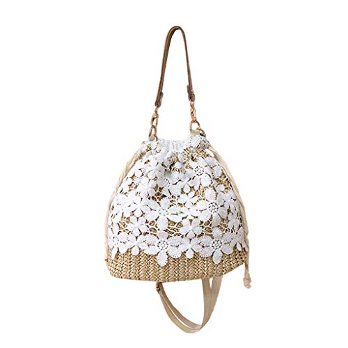 DAKERTA Damen Beach Lace bestickte Dekoration Stroh Eimer Tasche Sackleinen quadratische Tasche Strand Messenger Bag (Nike Messenger Bag Für Männer)