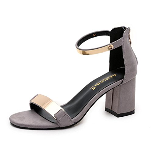 Sandalen Damen,Sonnena Frauen Casual Sommer Sandalen offene Zehen Frauen Sandalen dicke Ferse Schuhe Gladiator Schuhe Stilvoll Elegant Sandalette Strand (Sexy Grau, 38) (Schuhe Dicke Ferse)