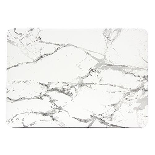 Se7enline Sanfte Schutzschale, Kunststoff, mit schwarzem Tastaturschutz aus Silikon und transparenter Displayschutzfolie, Design: schwarze Kreise, für Macbook Marble Pattern White