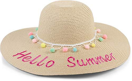 styleBREAKER Damen Strohhut mit 'Hello Summer' Spruch und Band mit Quasten, Sonnenhut, Schlapphut, Sommerhut, Hut 04025023, Farbe:Hellbraun-Pink