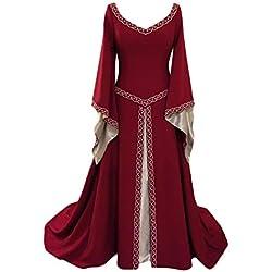 Disfraz Cuello En V Medieval para Mujer Vestido Manga Larga Vintage Costura De Encaje con Manga De Llamarada para Mujeres Vino Rojo XXL