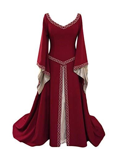 Liangzhu Damen Langarm Mittelalter Kleid Gothic Viktorianischen Königin Kostüm V-Ausschnitt Prinzessin Renaissance Bodenlänge Mehrfarbig Kleider Burgunderrot L
