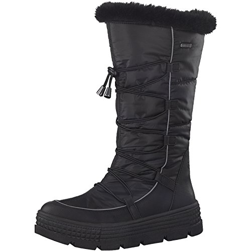 Tamaris Damen Winterstiefel 26631-31,Frauen Winter-Boots,Fellboots,Fellstiefel,wasserabweisend,Blockabsatz 5cm,Black,EU 41
