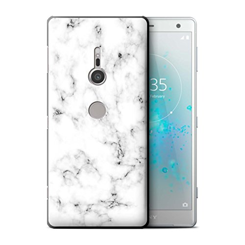 Weißen Granit-fliesen (Stuff4® Hülle/Case für Sony Xperia XZ2 / Weiß Muster/Marmor Granit Bewirken Kollektion)